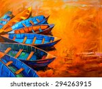 Oil Painting On Canvas Boats I...