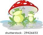 Two Frogs Wearing Rain Gear...