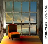 sofa and sunset  3d depicting... | Shutterstock . vector #29426656