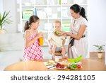 mother making breakfast for her ...   Shutterstock . vector #294281105