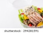 salad with roasted pork and... | Shutterstock . vector #294281591