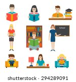 people reading books and study  ... | Shutterstock .eps vector #294289091