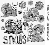set of hand painted snails and... | Shutterstock .eps vector #294297881