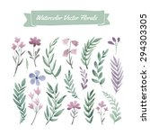 set of hand painted purple... | Shutterstock .eps vector #294303305