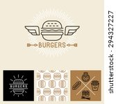 vector burger logo design... | Shutterstock .eps vector #294327227