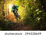 Mountainbiker Rides In Autumn...