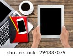 ipad  human hand  digital... | Shutterstock . vector #294337079
