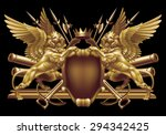 two winged lion with a crown... | Shutterstock .eps vector #294342425