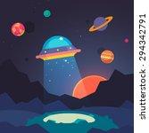 night alien world landscape and ... | Shutterstock .eps vector #294342791