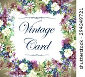 vintage watercolor greeting... | Shutterstock . vector #294349721
