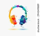 vector watercolor headphone | Shutterstock .eps vector #294349889