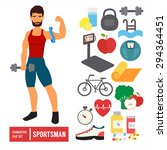 fitness character set. athlete... | Shutterstock .eps vector #294364451