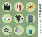 cinema icons set for use in... | Shutterstock .eps vector #294375731