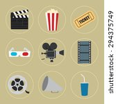 cinema icons set for use in... | Shutterstock .eps vector #294375749