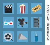 cinema icons set for use in... | Shutterstock .eps vector #294375779