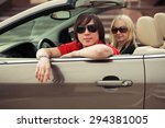 happy young couple driving... | Shutterstock . vector #294381005
