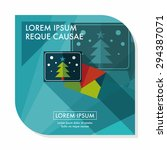 christmas card flat icon with... | Shutterstock .eps vector #294387071