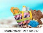 vacations  summer  beach bag. | Shutterstock . vector #294435347