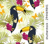 seamless pattern with toucans ... | Shutterstock .eps vector #294469841
