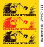 lion eyes. hand drawn. grunge... | Shutterstock .eps vector #294474311