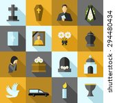 funeral icons flat long shadow... | Shutterstock .eps vector #294480434
