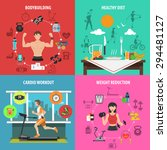 gym design concept set with... | Shutterstock .eps vector #294481127
