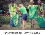 happy family collecting rubbish ... | Shutterstock . vector #294481361
