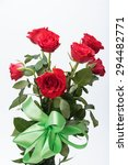 beautiful red roses on a white... | Shutterstock . vector #294482771