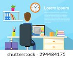 business man sitting desk... | Shutterstock .eps vector #294484175