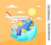 vacation trip booking ticket... | Shutterstock .eps vector #294484181