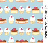 cupcakes  eclairs and flan in... | Shutterstock .eps vector #294484871