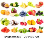 collage of different fruits and ... | Shutterstock . vector #294489725