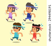 cartoon sport people running... | Shutterstock .eps vector #294498191