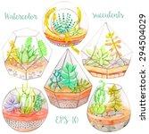 watercolor glass terrariums... | Shutterstock .eps vector #294504029