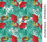 seamless pattern with colibri   ... | Shutterstock .eps vector #294506351