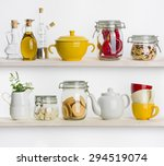 Kitchen Shelves With Various...