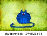 Cute Blue Cat With Tiger's...