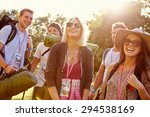 group of young people going... | Shutterstock . vector #294538169