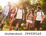 group of young people going... | Shutterstock . vector #294539165