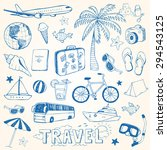 hand drawn travel doodles... | Shutterstock .eps vector #294543125