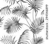 Topical Palm Leaves On Seamles...