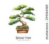 Watercolor Tree Bonsai. Hand...