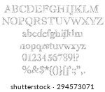alphabet set. pencil texture...