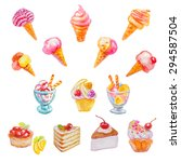 set of isolated watercolor... | Shutterstock .eps vector #294587504