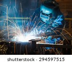 worker with protective mask... | Shutterstock . vector #294597515
