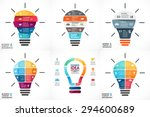 Vector light bulb infographic. Template for growth diagram, graph, presentation, chart. Business startup idea lamp concept with 4, 5, 6, 7 options, parts, steps, processes. Successful brainstorming | Shutterstock vector #294600689