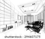 sketch design of living  3dwire ... | Shutterstock . vector #294607175