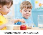 children eating healthy food at ... | Shutterstock . vector #294628265