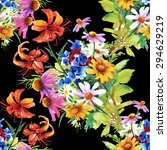 garden floral watercolor...   Shutterstock . vector #294629219