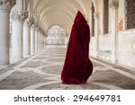 mysterious woman in red cloak | Shutterstock . vector #294649781